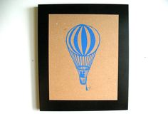 LINOCUT PRINT  Hot air balloon BLUE 8x10 by thebigharumph on Etsy, $22.00