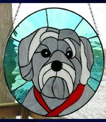 yorkshire terrier hanging stained glass panel from AGlassMenagerie.net/pet-portraits.html