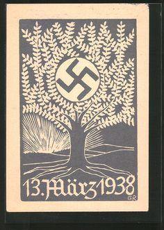 old postcard: Künstler-AK 13. März 1938, Baum mit Hakenkreuz