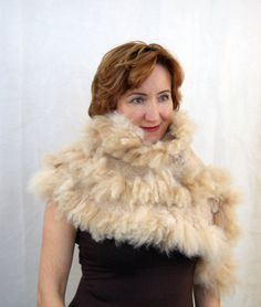 Alpaca+Beige+Wrap+Peach+Caramel+Alpaca+Wrap+Fur+by+elenasfelting,+$190.00