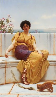 John William Godward    I love the little orange cat! What a lovely setting, I would love to be there!