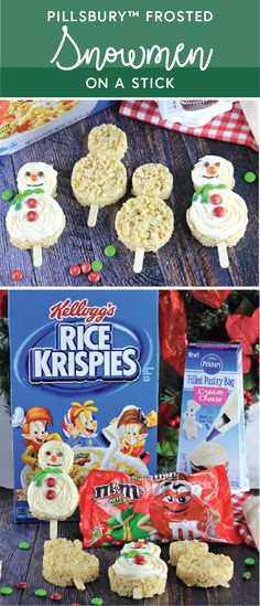 Spread a bit of holiday cheer to friends, teachers, neighbors—you name it—with the help of this recipe for Cute Snowmen on a Stick Treats! Christmas Snacks, Christmas Cooking, Noel Christmas, Christmas Goodies, Christmas Candy, Rice Crispy Christmas Treats, Christmas Rice Krispies, Office Christmas, Xmas