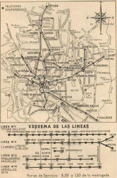 Plano del Metro de Madrid (1945)