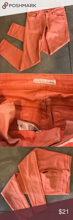 Guess Jeans Size 26 Orangey Coral Adorable Guess Jeans size 26 Guess Pants Skinny