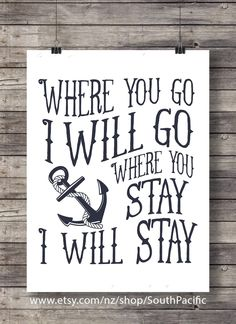 "Where you go, I will go, where you stay, I will stay"" Ruth Scripture Anchor typography hand lettered typography Printable wall art Scripture Signs, Printable Bible Verses, Printable Wall Art, As You Like, Just For You, Ruth 1 16, Love My Husband, Free Prints"