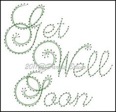 Get Well Soon Sentiment Paper Embroidery Pattern for Greeting Cards
