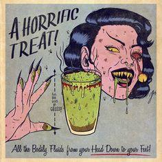 Jenny Richardson -A Horrific Treat - x Metal Print Arte Horror, Horror Art, Horror Films, Halloween Art, Vintage Halloween, Vintage Comics, Vintage Art, Bd Pop Art, Dibujos Pin Up