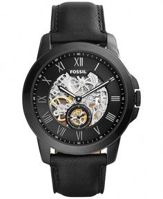 d628b0ed2430d7 Fossil Men s Automatic Grant Black Leather Strap Watch 45mm ME3096   MensWatches Macys Watches