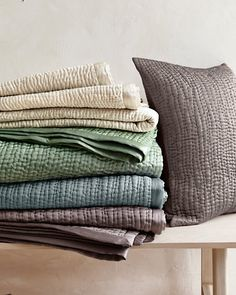 Eileen Fisher Waves Washed Silk Quilt and Sham - Sea Grass