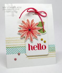 Jun 2014 Christine Miller My Stamp Lady: Flower Patch Bundle, Scalloped Tag Topper Punch, Gorgeous Grunge, Four You Flower Cards, Flower Stamp, Washi Tape Cards, Stampin Up Catalog, Flower Patch, Paper Cards, Cute Cards, Love Flowers, Homemade Cards