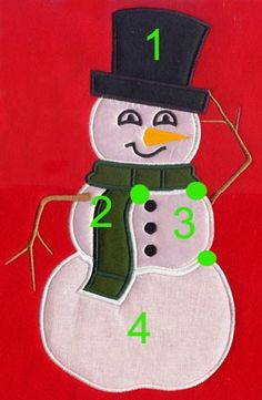 snowman applique for stocking
