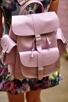 Purple lilac leather backpack by Grafea