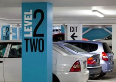 In many garages, you'll see that building owners have added graphics on structural beams as a method of wayfinding.
