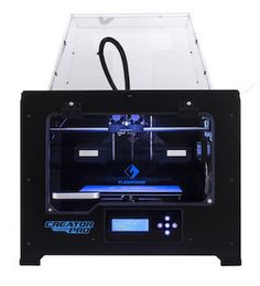 FlashForge Creator Pro has a large print area, quick heat dissipation, minimal noise, and can handle ABS and PLA materials. Materials are loaded on the dual-spools at a respectable speed. It includes a LCD panel for status updates.