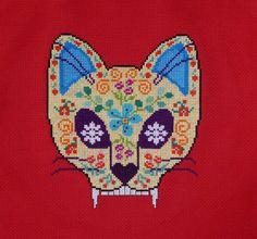 Sugar cat skull cross stitch pattern. Free ($0).