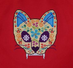 Sugar cat skull cross stitch pattern. Free ($0).