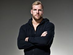The Be An Athlete brand ambassador, James Haskell, being grilled by Men's Health magazine