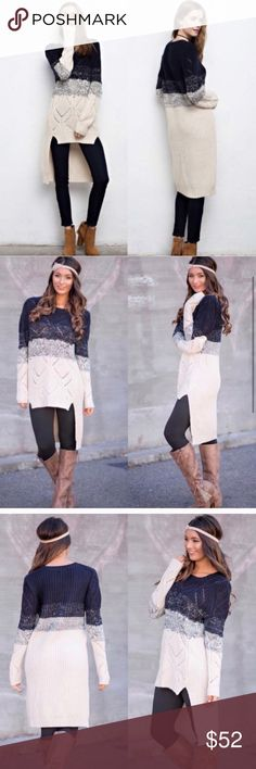 😍LAST😍 Ombre Navy Cream High Low Knit Sweater Longline sweater. Nice and thick for winter. Super cute Sweaters Cowl & Turtlenecks