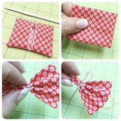 """Okay so here are a few more steps in my Christmas Bow #instatutorial ❤️1. Turn right side out. ✂️I like to use a small crochet hook with a rounded end to push out the corners for a nice finish:) ❤️2. Press it flat from the front...using light spray starch ✂️3. Fold it """"accordion style"""" and pinch in the center to keep it folded. ❤️ 4. Use red thread (with knot in the end) and insert through all folds in the center. #beeinmybonnet #christmasbow A few more steps coming up!"""