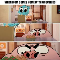 I'm to lazy to make an Amazing World of Gumball board so I'm just going to put this on another board. Funny Cute, The Funny, Hilarious, Cartoon Memes, Funny Memes, Adventures Of Gumball, E Cards, Cartoon Network, Adventure Time