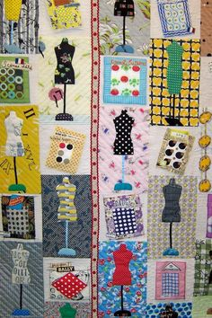 dressform quilt . . . 2006 Tokyo Quilt Show . . . a close look shows that button cards aren't buttons at all but patterned/dotted fabric . . .