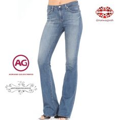"""{offer $34}THE ANGEL (wash: 10 years boundless)EUC Medium wash AG bootcut. Combination of laid-back look, beautiful tailoring and classy style. Slender fit through the bed that opens into subtle flare. Lightweight with lots of stretch. (95% cotton, 5% polyurethane:)) Traditional 5-pocket design with gold contrast stitching. Size: 29. Inseam 32"""". Waist: 15.5"""" side to side. Front rise : 8"""" (medium rise). Photos with a model from agjeans.com. All other photos are mine. Anthropologie Jeans Boot…"""
