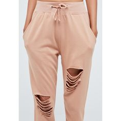 Tall Pink Ripped Front Joggers ❤ liked on Polyvore featuring activewear, activewear pants, pink sportswear and tall activewear