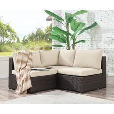 Holliston 3 Piece Rattan Sectional Seating Group with Cushions - Deck - Balcony Furniture Design Decor, Furniture, Balcony Furniture, Conversation Set Patio, Patio Decor, Rattan Furniture Set, Sectional, Outdoor Sofa Sets, Small Apartment Patio