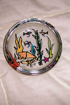 Vintage Hand Painted Round Glass Accent Piece by GiftsFromFlutters