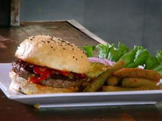 I saw this lamb burger on an episode of Diners, Drive-Ins, and Dives tonight and now I want to make it and EAT it!  The Lamb Burger from FoodNetwork.com