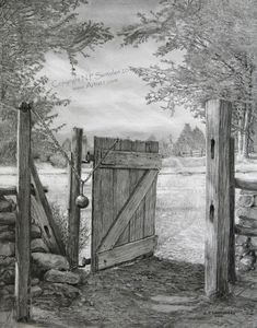 """The Gate Open edition signed print, reproduced from the original pencil drawing of the same name, by artist Nicholas Santoleri """"The Gate"""" implies that we are standing at the gate then walking through to brighter times ahead. Note the darker tones prior to Landscape Pencil Drawings, Landscape Sketch, Pencil Art Drawings, Art Drawings Sketches, Scenery Drawing Pencil, Pencil Drawings Of Nature, Graphite Drawings, Realism Artists, Fine Art"""