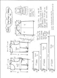 Esquema de modelagem de vestido manga longa babados tamanho 40.