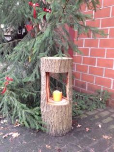 Decoration christmas candle tree trunk in Hövelhof - Trend Garden Decoration Decoration Christmas, Christmas Candle, Christmas Home, Weihnachten In Den Bergen, Most Beautiful Gardens, Wood Candle Holders, Rustic Gardens, Wood Creations, Tree Art