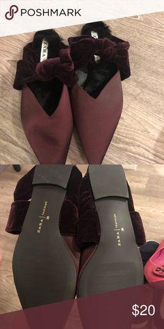 bbda204ff4 Zara fur mules Brand new Zara fur and satin pointy toe mules Zara Shoes  Flats
