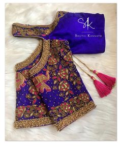 Our favourite elephant and floral on an off-shoulder blouse . Blouse Back Neck Designs, Cotton Saree Blouse Designs, Wedding Saree Blouse Designs, Fancy Blouse Designs, Blouse Patterns, Saree Wedding, Magam Work Blouses, Maggam Work Designs, Sari Design