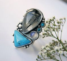 Winter's End -Tourmalated Quartz, Turquoise, and Moonstone Sterling Silver Ring by Mercury Orchid