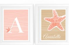 Tropical / Under the Sea Baby Nursery Art SET - Monogram Starfish Prints 8x10 Nursery or Kids Room Wall Decor - Shown in Light Coral / Latt. $32.00, via Etsy.