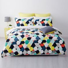 GEOMETRIC PINK YELLOW BLUE GREEN REVERSIBLE KING bed QUILT DOONA COVER SET NEW