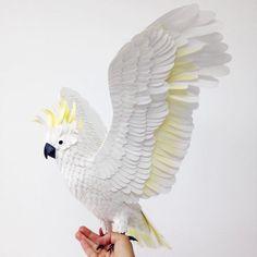 Esculturas de Aves y Mariposas hechas con papel por Diana Beltran Herrera