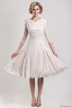 wedding dresses short and tea length ·  wedding  dress  sleeves  bridal   gown  modest  50s  blush 6d60998ccc08