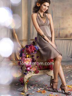 A-line Halter Sleeveless Knee-length Chiffon Party Dress, Bridesmaid Dress
