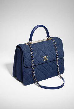 Flap bag with top handle, denim & gold-tone metal-blue - CHANEL  @michaelOXOXO @JonXOXOXO @emmaruthXOXO  #CHANEL