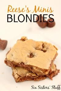 Six Sisters Mini Reese's Blondies on MyRecipeMagic.com. These blondies rock! They are so delicious! #sixsistersstuff