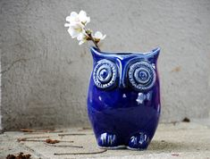 OWL planter flower vase in navy blue by claylicious on Etsy, $35.00