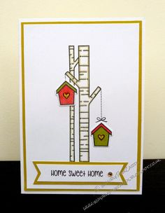 """InvisiblePinkCards: Home Sweet Home. Lawn Fawn Joy to the Woods for a simple """"Happy New Home"""" card"""