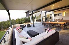Stone, Dark Wood and Glass Combination for Modern House Design by Dane Design Australia - Home Design and Home Interior Modern Bungalow House, Bungalow House Plans, Modern House Design, Kb Homes, Contemporary Outdoor Furniture, Outdoor Furniture Sets, Australia Occidental, Australia House, Western Australia