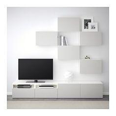 IKEA - BESTÅ TV storage combination walnut effect light gray, Ikea Storage, Storage Spaces, Record Storage, Living Room Tv, Living Room Furniture, Muebles Living, Ikea Us, Interior Accessories, Home Furnishings