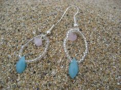 Teardrop - Rose Quartz and Teardrop Faceted Glass Crystal Beads earring