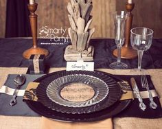 Rustic dinner place setting using WNA fluted plates and burlap decor is perfect for a barnyard wedding! via @Smartyhadaparty