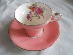 AYNSLEY TEA CUP AND SAUCER PRETTY